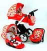 Czerwony wózek z ekoskóry w arbuzy (3w1 lub 2w1)