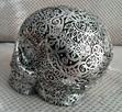 Misternie rzeźbiona srebrna czaszka silver skull - 3