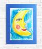 rysunek z księżycem, księżyc obraz malowany ręcznie a3 - 1