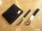 Komplet upominkowy elegancki portfel brelok, długopis czarny - 4