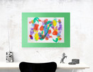 kolorowy rysunek 30x40, abstrakcja na ścianę - 1