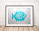 ryba plakat, minimalizm grafika na ścianę