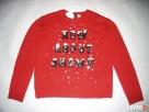 H&M Uroczy Sweter Motyw Śniegu Cekiny NOWY 36 S XS - 1