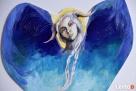 Anioł malowany na drewnie ANIOŁ ZIEMI artystki A. Laube - 2
