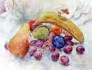 Obraz akwarelowy, akwarela, owoce, martwa natura, kolorowy