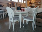 Zestaw biały ludwik - stół + 4 krzesła