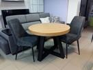 Stół okrągły dębowy LOFT, krzesła industrialny noga metalowa